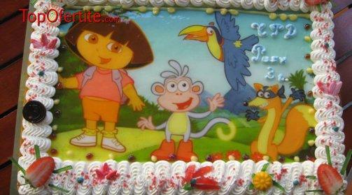 Детска торта с фотоснимка и надпис по желание 16 или 20 парчета от Кафе-сладкарница Орхидея само за 28,80 лв