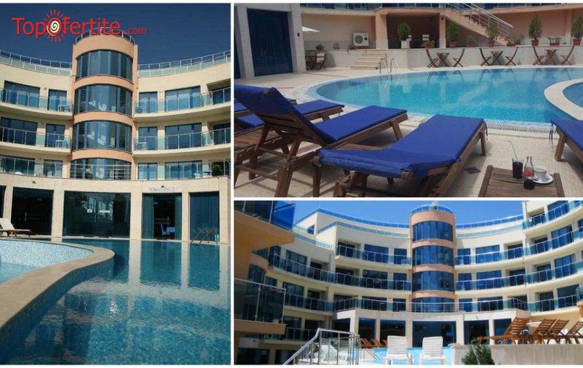 Хотел Аквамарин в Обзор! 2, 4 или 6 нощувки в апартамент + закуски, вечери, ползване на басейн, шезлонг и чадър на плажа на цени от 79 лв на човек
