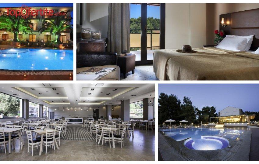 МАЙСКИ ПРАЗНИЦИ в Simeon Hotel 3*, Ситония, Халкидики, Гърция! Нощувка + закуска, вечеря и безплатно дете до 12,99 г. и ползване на басейн за 42 лв на човек
