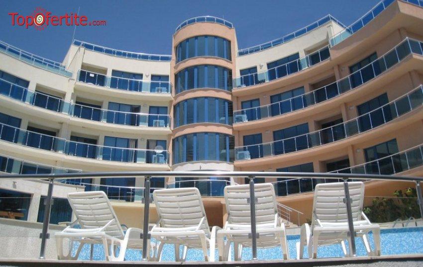Хотел Аквамарин, Обзор през Юни или Септември! Нощувка в двустаен апартамент + закуска, обяд, вечеря, ползване на басейн, шезлонг и чадър на плажа за 58 лв на човек
