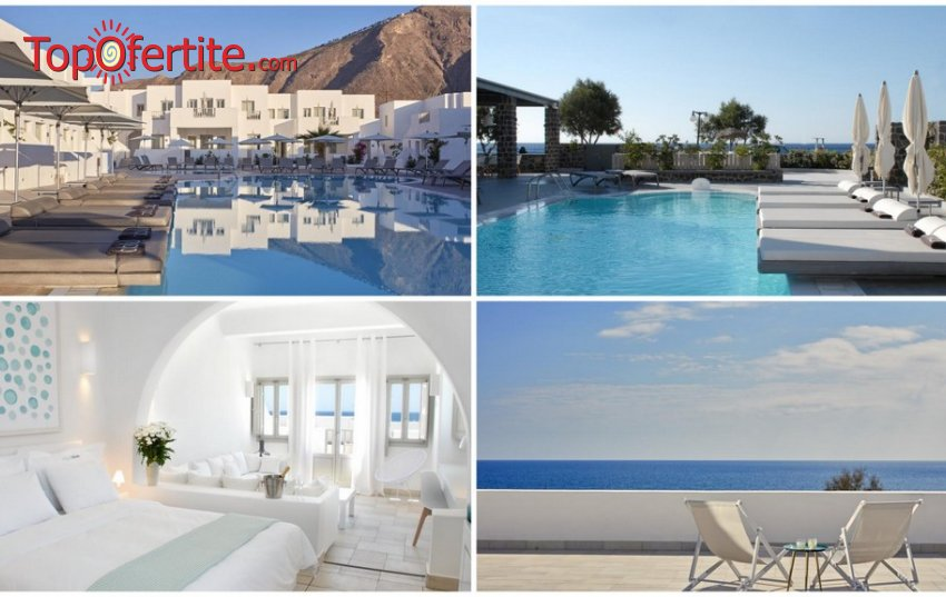 Септемврийски празници в Хотел Aqua Blue Hotel 5*, Санторини, Гърция! 3 нощувки + закуски, самолет, летищни такси и трансфер само за 988,70 лв. на човек