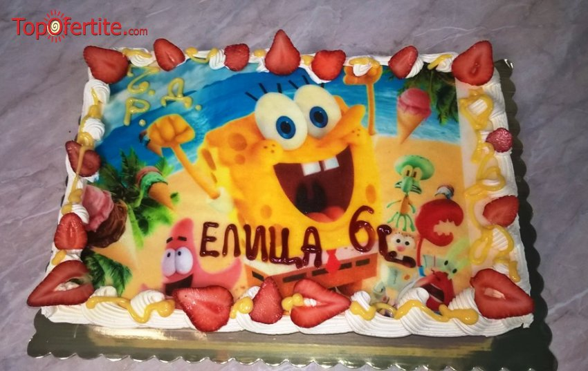 Детска торта с фотоснимка и надпис по желание 16 или 20 парчета от Кафе-сладкарница Орхидея само за 34,20 лв
