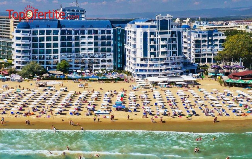 На море в Хотел Чайка Бийч Ризорт 4*, Слънчев бряг, Първа линия! Нощувка на база Аll inclusive + 2 външни басейна, шезлонг и чадър на цени от 61 лв на човек
