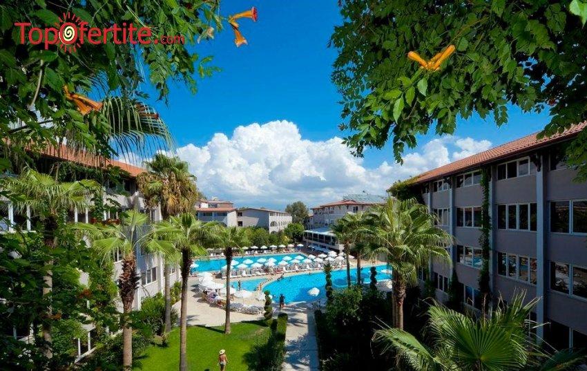 Супер Цени за почивка в Турция с полет на 11.09! 7 нощувки в Club Bayar Beach Hotel 4* на база All Inclusive + самолетни билети, трансфер и летищни такси на цени от 484лв