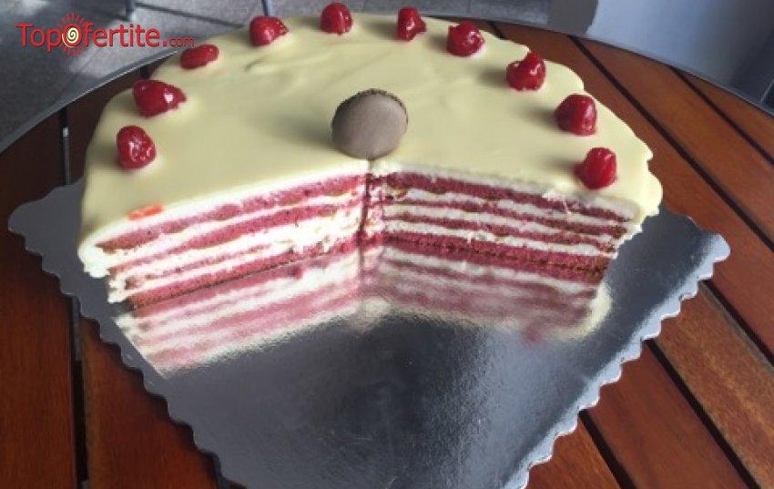 Торта Червено кадифе с бял шоколад, млечен карамел и пресни череши - 8 парчета от Сладкарница Орхидея само за 26,40 лв