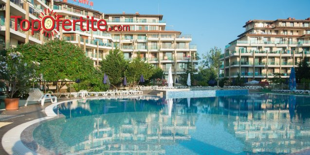 Ранни записвания! На море в Апарт хотел Престиж Сити 2, гр. Приморско! Нощувка на All Inclusive + басейн с джакузи, детски басейн, шезлонги и чадъри около басейна на цени от 52 лв. на човек + дете до 12г. Безплатно
