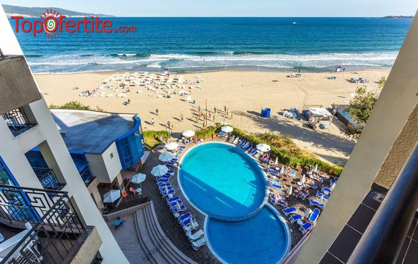 На море в Хотел Синя Перла, Слънчев бряг, Първа линия! Нощувка на база Ultra All Inclusive + външен басейн, шезлонг и чадър на басейна и плажа на цени от 49 лв. на човек + дете до 12 г. Безплатно