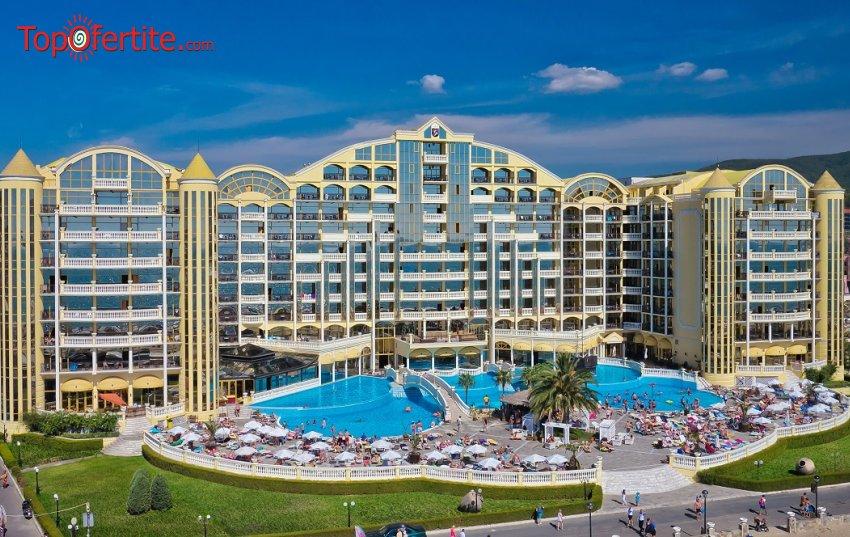 На море в Хотел Империал Палас 5*, Слънчев бряг Първа линия! 1 нощувка на база All inclusive + външен басейн, шезлонг и чадър на цени от 55 лв. на човек + дете до 12г. Безплатно