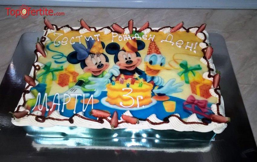 Детска торта с фотоснимка и надпис по желание 16 или 20 парчета от Кафе-сладкарница Орхидея само за 41 лв