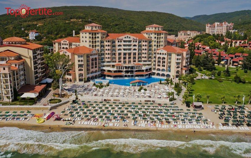 На море в Хотел Роял Парк 4*, Елените първа линия! Нощувка на база Аll inclusive + аквапарк, лунапарк, външен басейн, шезлонг и чадър на плажа на цени от 69 лв. на човек + дете до 11,99 г. Безплатно