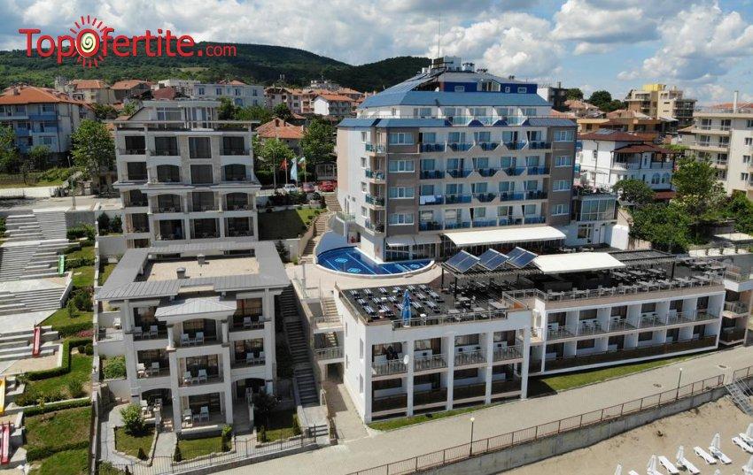 На море в хотел Парайзо Бийч, Обзор на първа линия! Нощувка на база All Inclusive, открит басейн с шезлонг и чадър, чадър и шезлонг на плажа, паркинг на цени от 45 лв. на човек