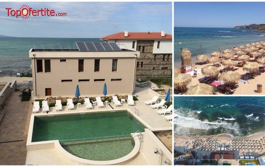 На море в Хотел Мелиа Мар, Созопол на Първа линия! Нощувка + закуска и вечеря, басейн, шезлонг, чадър, детски кът и чадър и шезлонг на плажа на цени от 23,50 лв. на човек