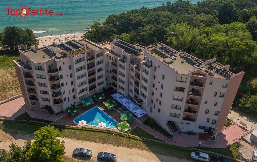 На море в Хотел Морето, Обзор първа линия! Нощувка в апартамент + закуска, обяд, вечеря, напитки, басейн, чадър и шезлонг на плажа на цени от 63 лв. на човек + дете до 11,99 г. Безплатно