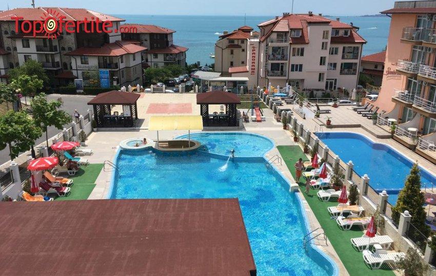 На море в Хотел Корона, Свети Влас! 2 нощувки на база All Inclusive + басейн с водна пързалка с шезлонг и чадър на цени от 108 лв. на човек