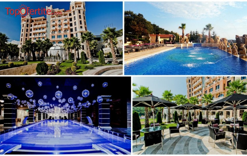 На море в Хотел Роял Касъл 5*, Елените! 1 нощувка + закуска, вечеря, аквапарк Атлантида, вътрешен и външен басейн, шезлонг и чадър на плажа и басейните на цени от 83 лв. на човек + Безплатен паркинг