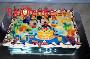 Детска торта с фотоснимка и надпис по желание 16 или 20 парчета от Кафе-сладкарница Орхидея за 41 лв