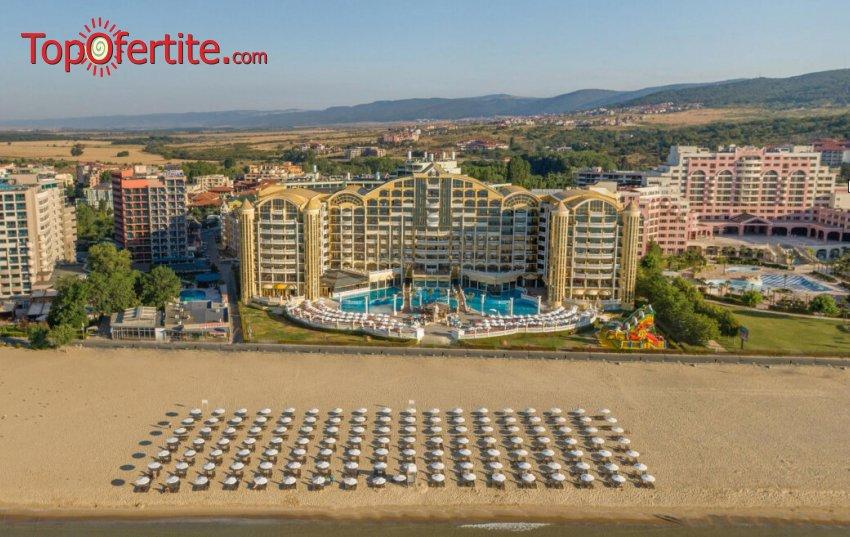 На море в Хотел Империал Палас 5*, Слънчев бряг Първа линия! Нощувка в супериорна стая на база Ultra All inclusive + външен басейн, шезлонг и чадър на плажа на цени от 84 лв. на човек