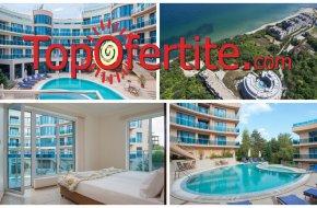 На море в Хотел Аквамарин, Обзор! Нощувка в апартамент + закуска, външен басейн, шезлонг и чадър около басейна и на плажа за 45,50 лв. на човек