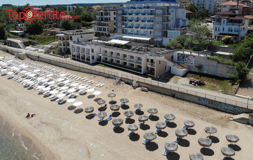 На море в Хотел Парайзо Бийч, Обзор на първа линия! Нощувка на база All Inclusive + открит басейн, шезлонг и чадър около басейна и на плажа на цени от 49 лв. на човек