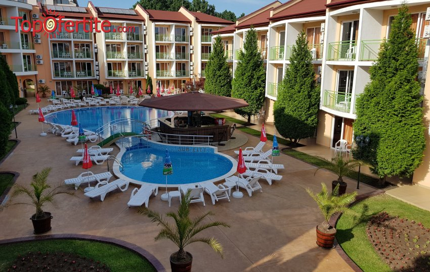 На море в Хотел Сън Сити 3*, Слънчев бряг! Нощувка на база All Inclusive + открит басейн, шезлонг и чадър на цени от 55 лв. на човек