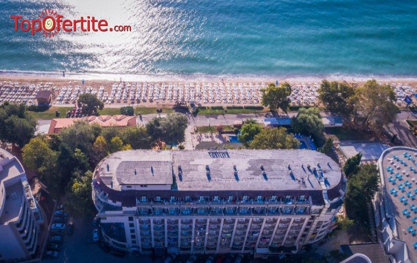 На море в Хотел Калиакра Палас 4*, Златни пясъци - Първа линия! Нощувка на база All Inclusive + външен басейн, шезлонг и чадър около басейна за 93,50 лв. на човек