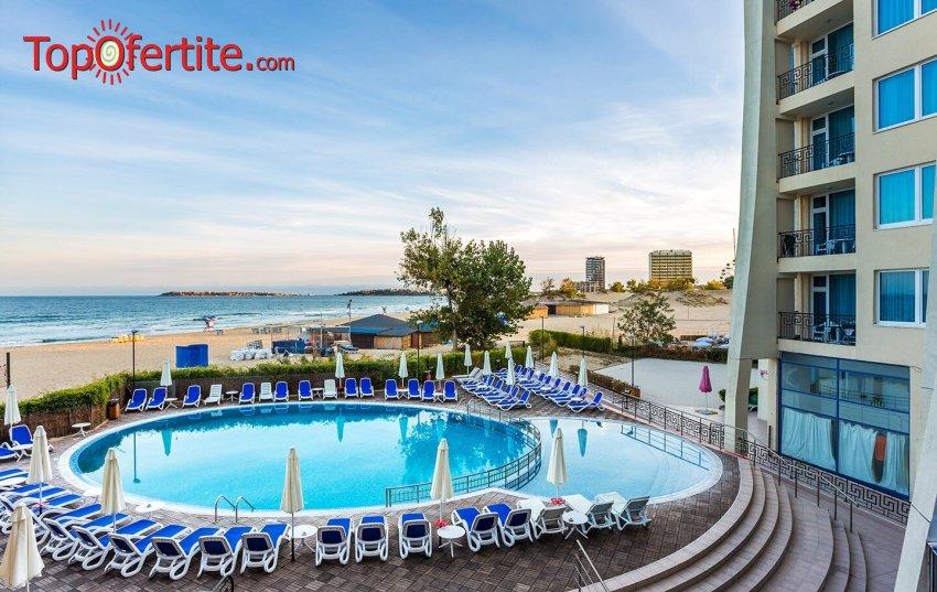 Късно лято в Хотел Синя Перла, Слънчев бряг, Първа линия! Нощувка на база Ultra All Inclusive + външен басейн, шезлонг и чадър около басейна басейна и на плажа на цени от 50,40 лв. на човек